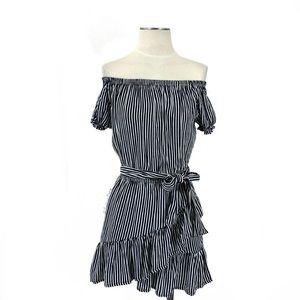 Faithfull the Brand- Caria Navy Off Shoulder Dress
